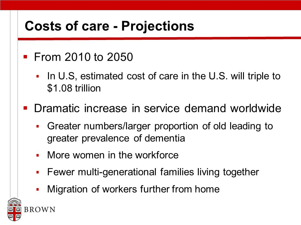 Costs of care - Projections  From 2010 to 2050  In U.S, estimated cost of care in the U.S.