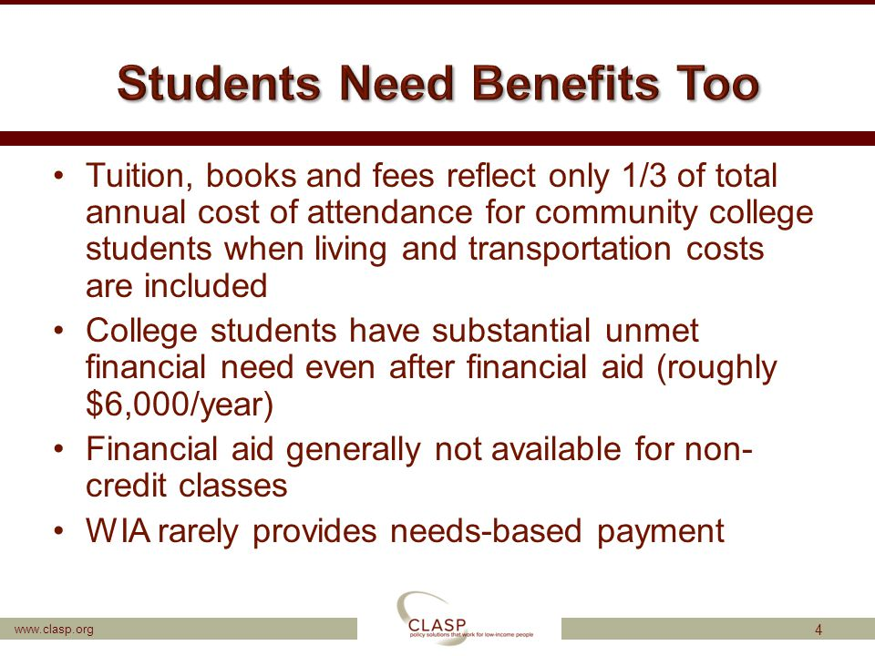 www.clasp.org Tuition, books and fees reflect only 1/3 of total annual cost of attendance for community college students when living and transportatio
