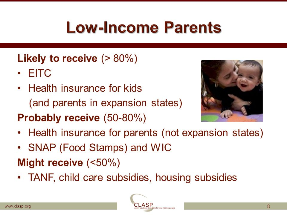 www.clasp.org Likely to receive (> 80%) EITC Health insurance for kids (and parents in expansion states) Probably receive (50-80%) Health insurance fo