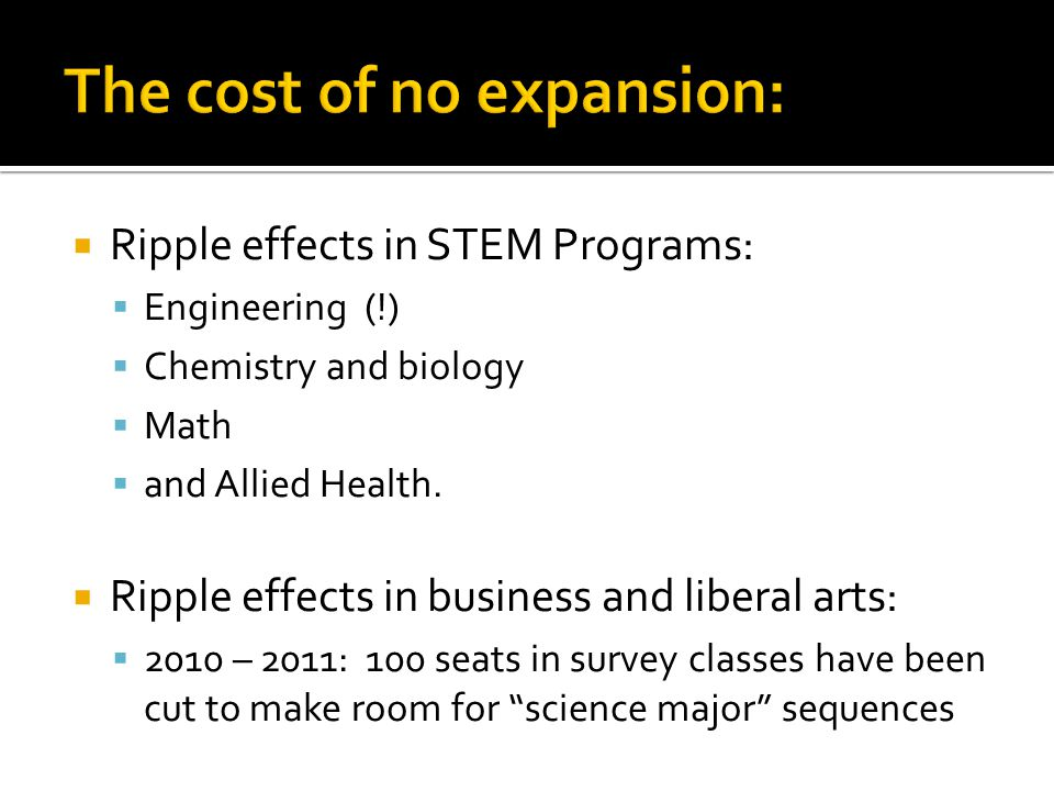  Ripple effects in STEM Programs:  Engineering (!)  Chemistry and biology  Math  and Allied Health.