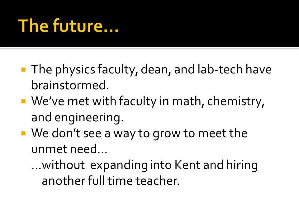  The physics faculty, dean, and lab-tech have brainstormed.