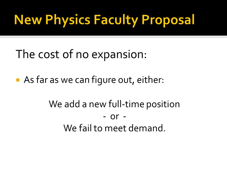 The cost of no expansion:  As far as we can figure out, either: We add a new full-time position - or - We fail to meet demand.