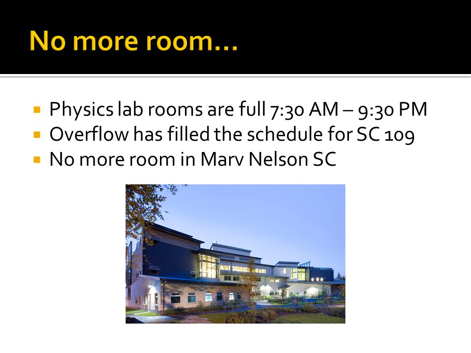  Physics lab rooms are full 7:30 AM – 9:30 PM  Overflow has filled the schedule for SC 109  No more room in Marv Nelson SC