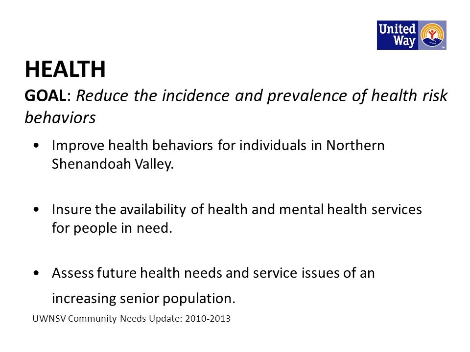 HEALTH GOAL: Reduce the incidence and prevalence of health risk behaviors Improve health behaviors for individuals in Northern Shenandoah Valley. Insu