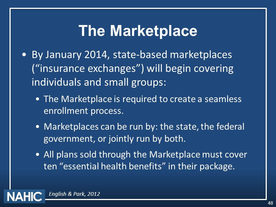 The Marketplace By January 2014, state-based marketplaces ( insurance exchanges ) will begin covering individuals and small groups: The Marketplace is required to create a seamless enrollment process.