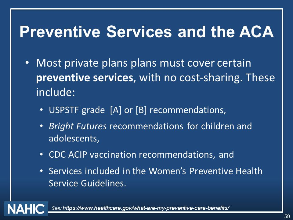 Most private plans plans must cover certain preventive services, with no cost-sharing.