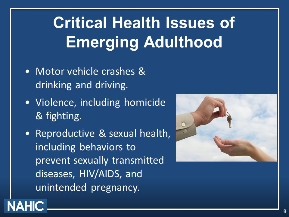 Critical Health Issues of Emerging Adulthood Motor vehicle crashes & drinking and driving.