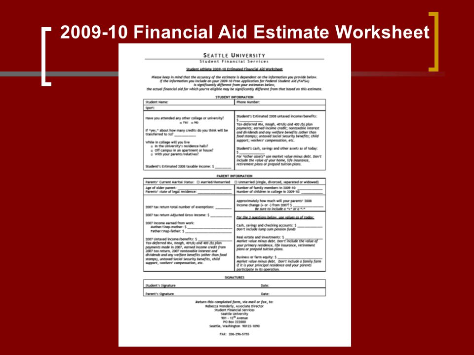 2009-10 Financial Aid Estimate Worksheet