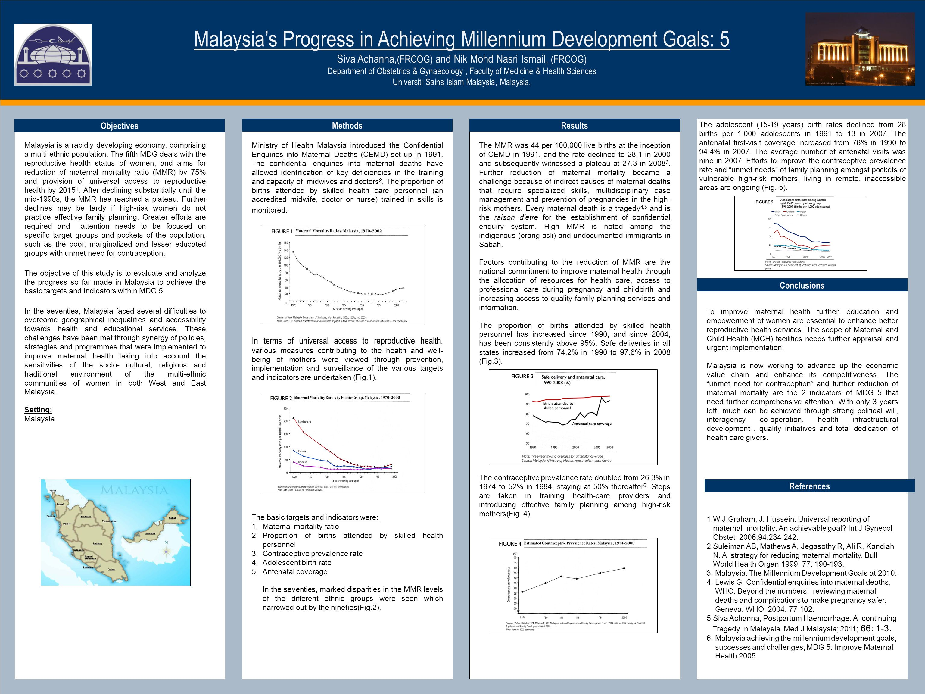 TEMPLATE DESIGN © 2008 www.PosterPresentations.com Malaysia's Progress in Achieving Millennium Development Goals: 5 Siva Achanna, (FRCOG) and Nik Mohd Nasri Ismail, (FRCOG) Department of Obstetrics & Gynaecology, Faculty of Medicine & Health Sciences Universiti Sains Islam Malaysia, Malaysia.