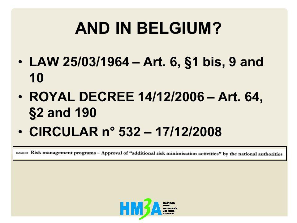 AND IN BELGIUM. LAW 25/03/1964 – Art. 6, §1 bis, 9 and 10 ROYAL DECREE 14/12/2006 – Art.