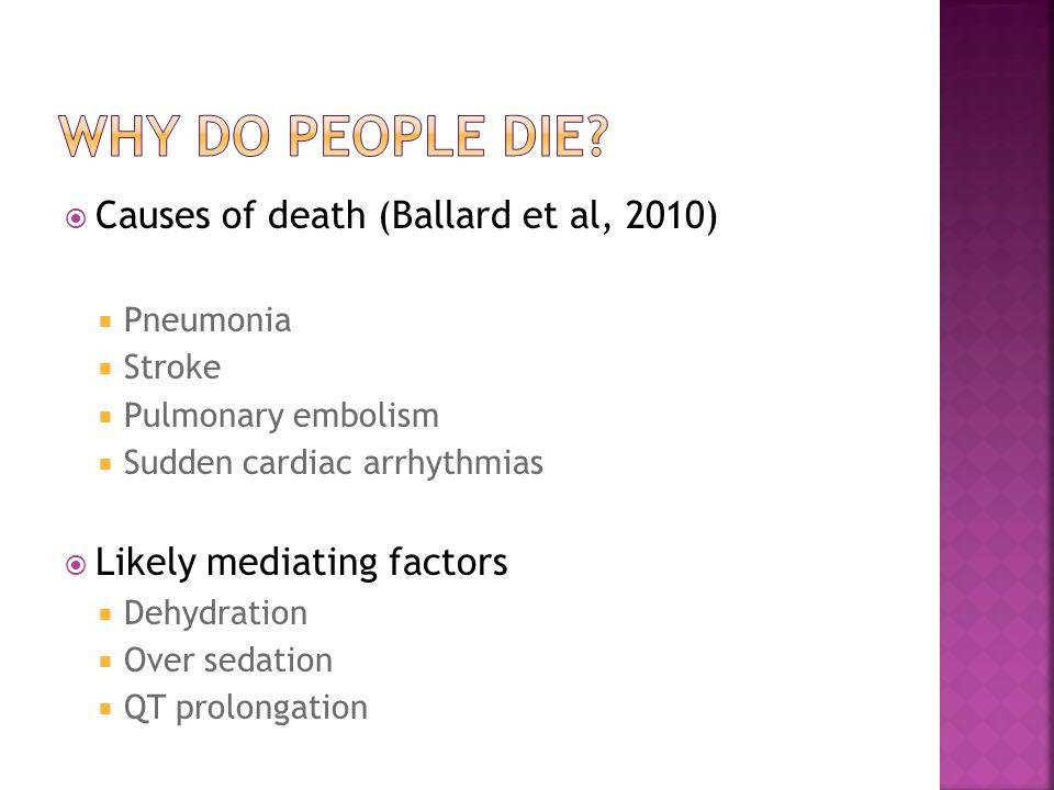  Causes of death (Ballard et al, 2010)  Pneumonia  Stroke  Pulmonary embolism  Sudden cardiac arrhythmias  Likely mediating factors  Dehydration  Over sedation  QT prolongation