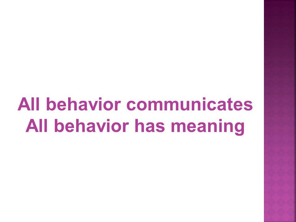 All behavior communicates All behavior has meaning