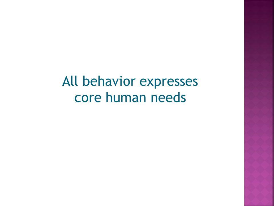 All behavior expresses core human needs