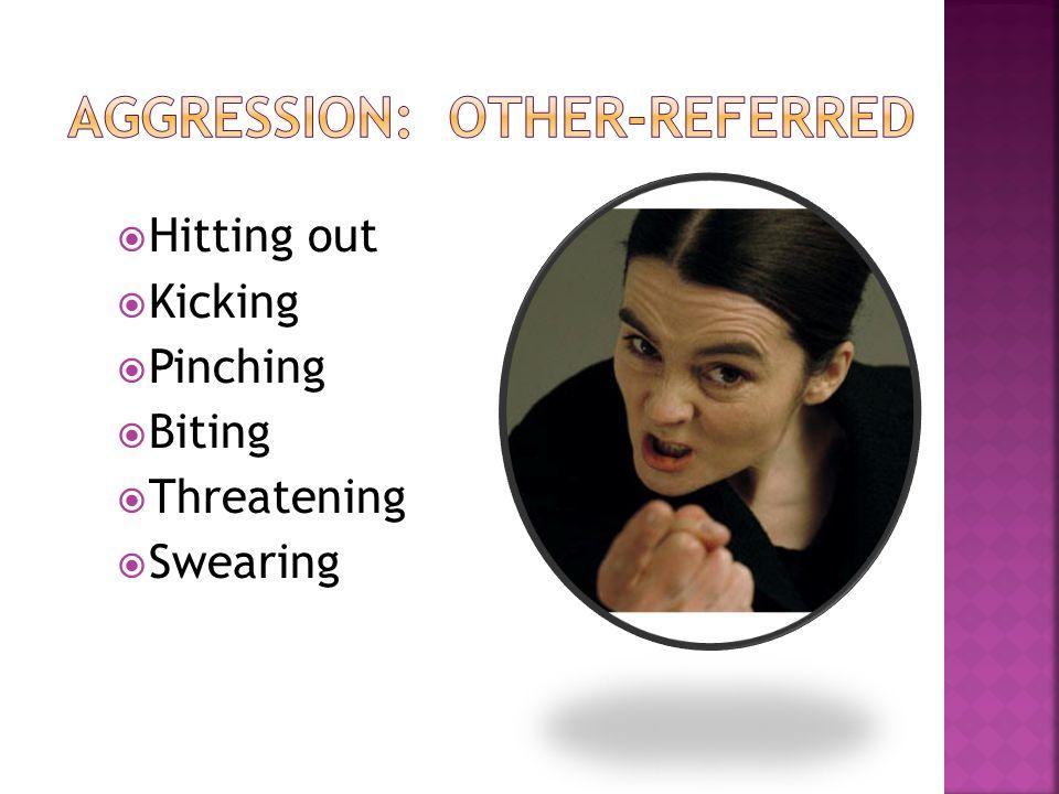  Hitting out  Kicking  Pinching  Biting  Threatening  Swearing