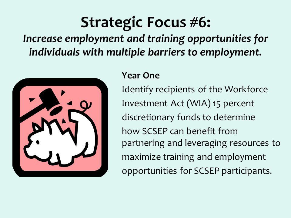 Strategic Focus #6: Increase employment and training opportunities for individuals with multiple barriers to employment. Year One Identify recipients
