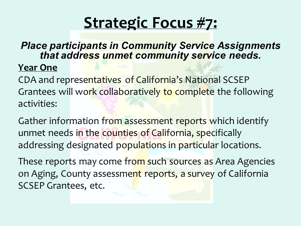 Strategic Focus #7: Place participants in Community Service Assignments that address unmet community service needs. Year One CDA and representatives o