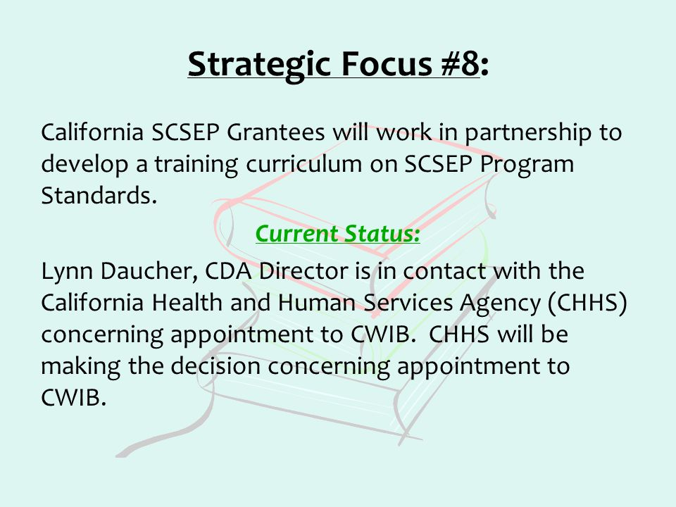 Strategic Focus #8: California SCSEP Grantees will work in partnership to develop a training curriculum on SCSEP Program Standards. Current Status: Ly