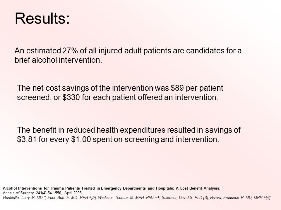 An estimated 27% of all injured adult patients are candidates for a brief alcohol intervention. The net cost savings of the intervention was $89 per p