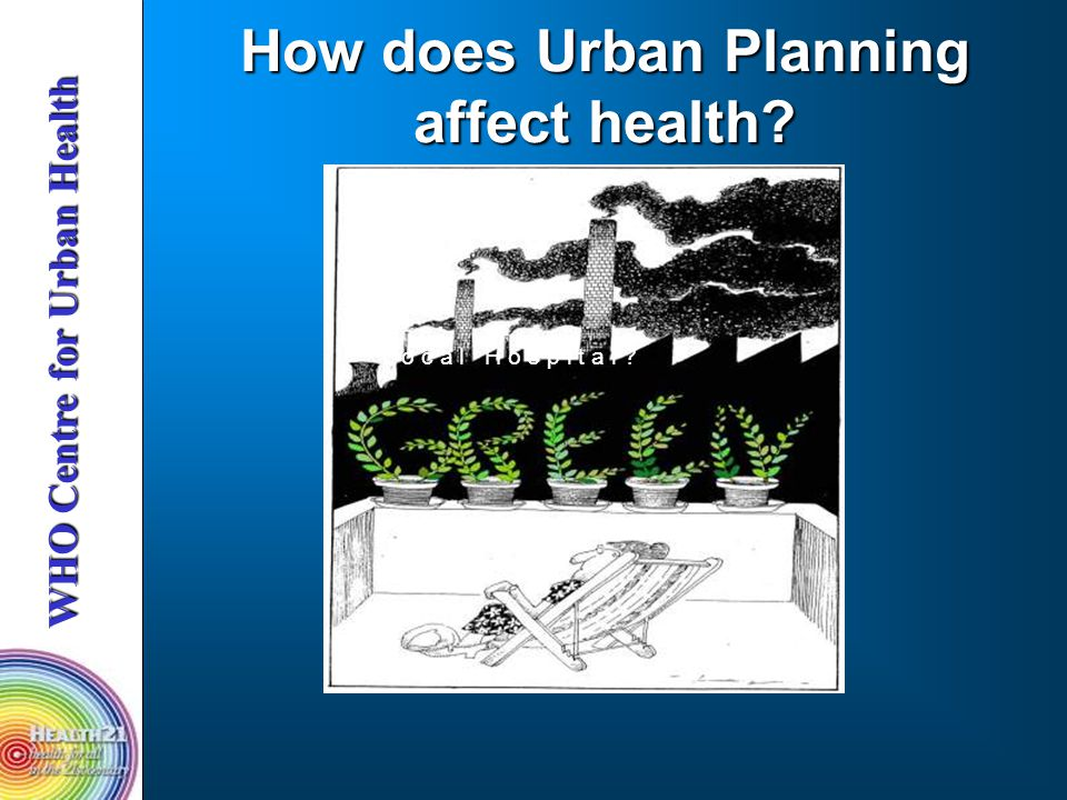 WHO Centre for Urban Health How does Urban Planning affect health? L o c a l H o s p i t a l ?