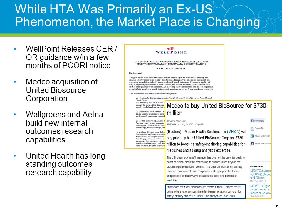 While HTA Was Primarily an Ex-US Phenomenon, the Market Place is Changing WellPoint Releases CER / OR guidance w/in a few months of PCORI notice Medco acquisition of United Biosource Corporation Wallgreens and Aetna build new internal outcomes research capabilities United Health has long standing outcomes research capability 11