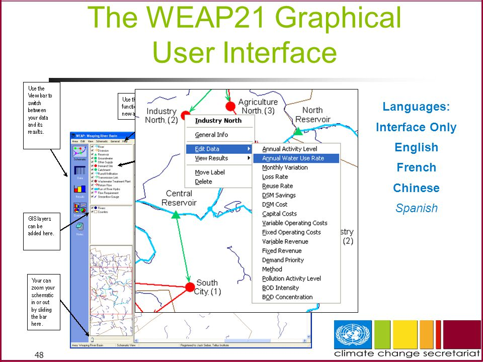 48 The WEAP21 Graphical User Interface Languages: Interface Only English French Chinese Spanish