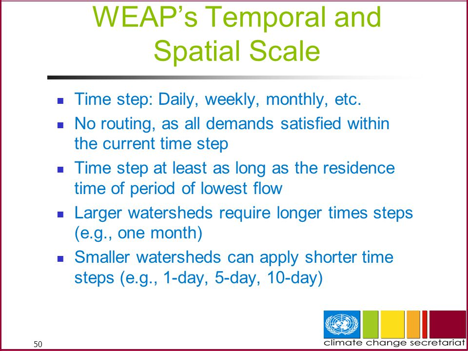 50 WEAP's Temporal and Spatial Scale Time step: Daily, weekly, monthly, etc.