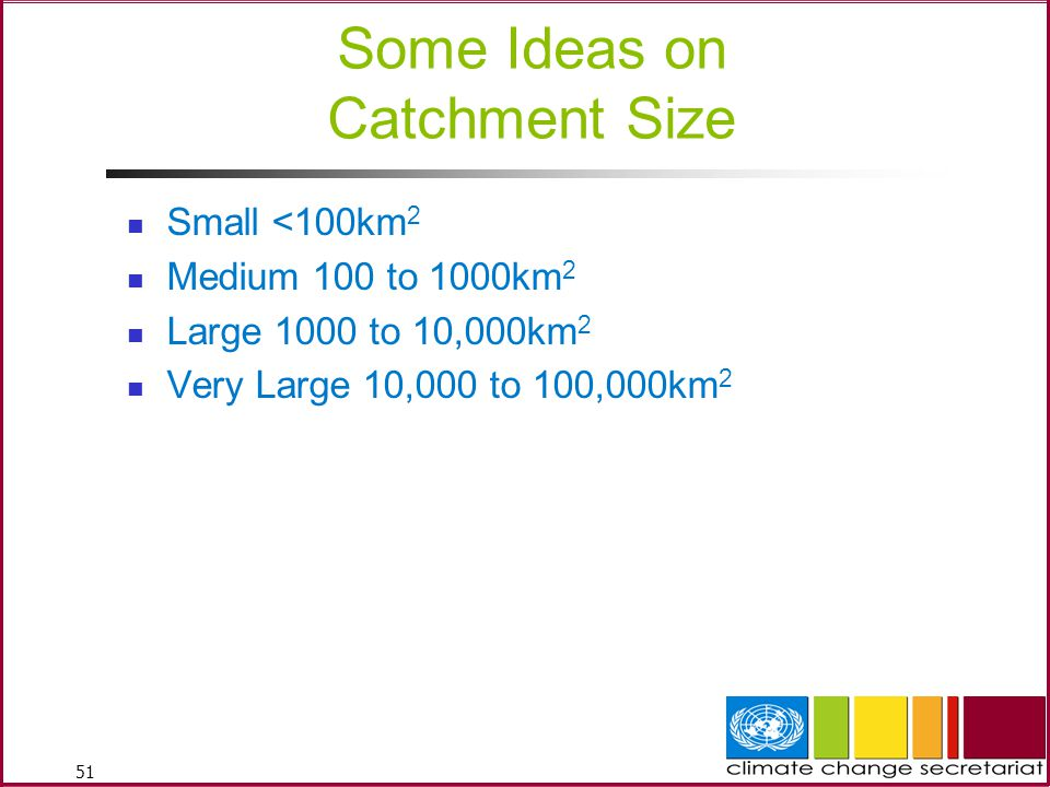 51 Some Ideas on Catchment Size Small <100km 2 Medium 100 to 1000km 2 Large 1000 to 10,000km 2 Very Large 10,000 to 100,000km 2