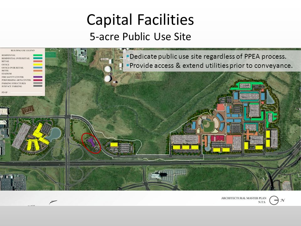 Capital Facilities 5-acre Public Use Site  Dedicate public use site regardless of PPEA process.