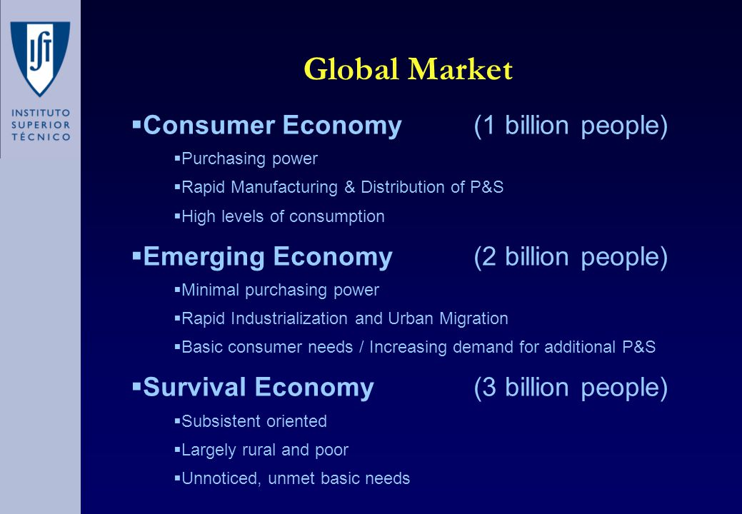 Global Market  Consumer Economy (1 billion people)  Purchasing power  Rapid Manufacturing & Distribution of P&S  High levels of consumption  Emerging Economy (2 billion people)  Minimal purchasing power  Rapid Industrialization and Urban Migration  Basic consumer needs / Increasing demand for additional P&S  Survival Economy (3 billion people)  Subsistent oriented  Largely rural and poor  Unnoticed, unmet basic needs