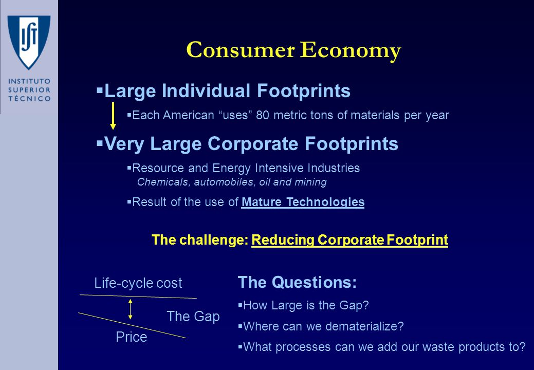 Consumer Economy  Large Individual Footprints  Each American uses 80 metric tons of materials per year  Very Large Corporate Footprints  Resource and Energy Intensive Industries Chemicals, automobiles, oil and mining  Result of the use of Mature Technologies Price Life-cycle cost The Gap The Questions:  How Large is the Gap.