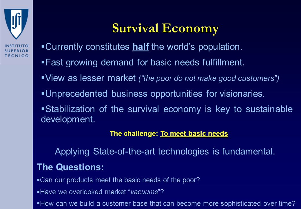 Survival Economy The Questions:  Can our products meet the basic needs of the poor.