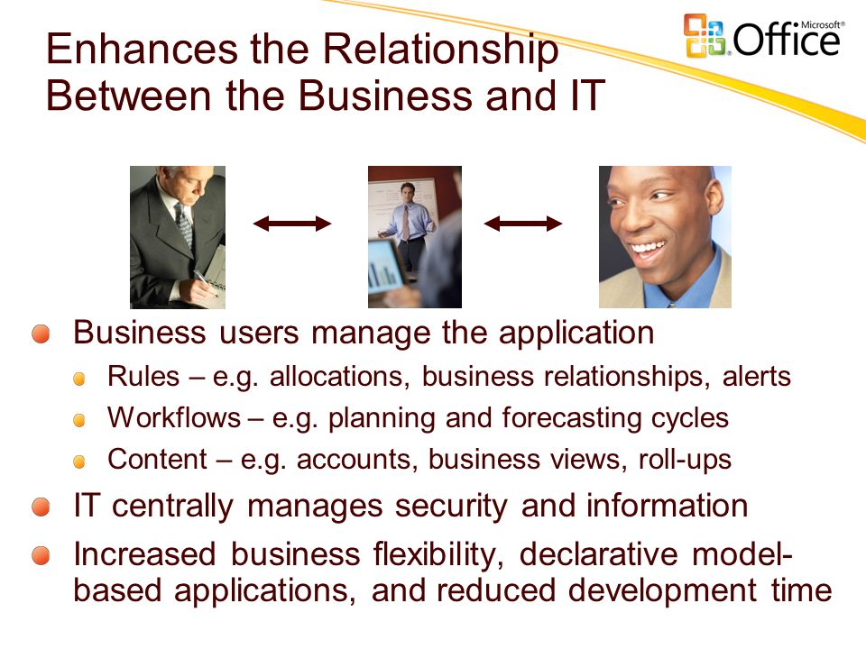 Enhances the Relationship Between the Business and IT Business users manage the application Rules – e.g.