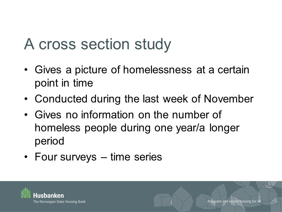 A cross section study Gives a picture of homelessness at a certain point in time Conducted during the last week of November Gives no information on the number of homeless people during one year/a longer period Four surveys – time series