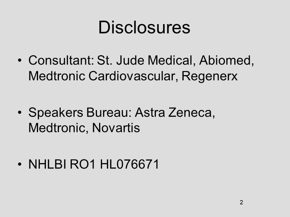 2 Disclosures Consultant: St. Jude Medical, Abiomed, Medtronic Cardiovascular, Regenerx Speakers Bureau: Astra Zeneca, Medtronic, Novartis NHLBI RO1 H