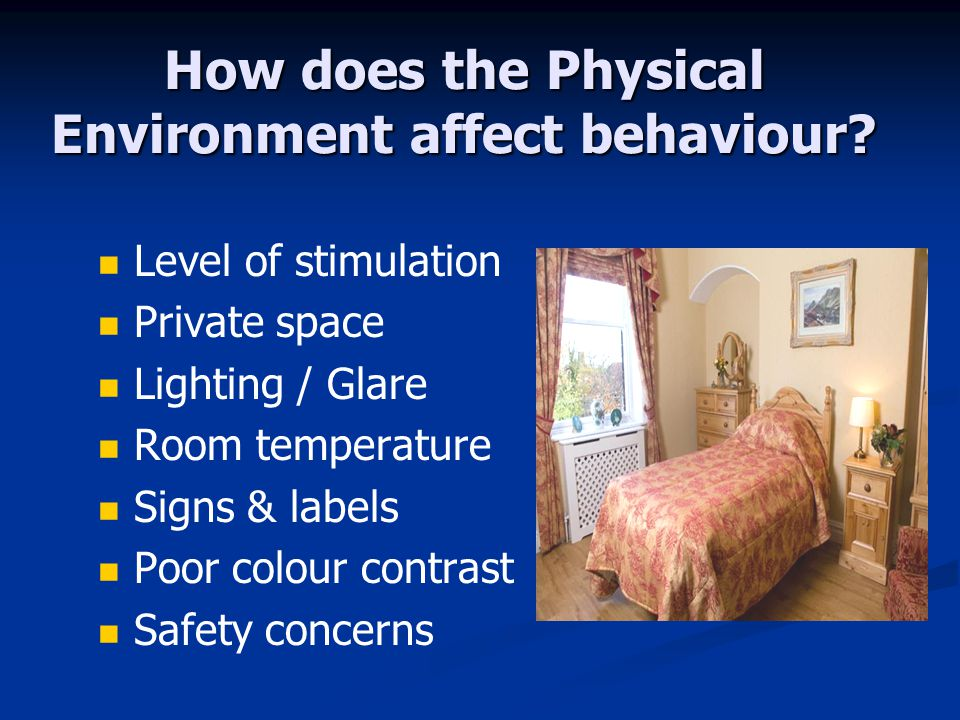 How does the Physical Environment affect behaviour.