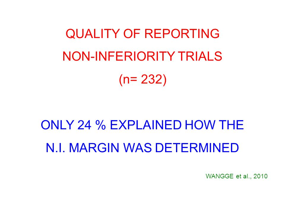 QUALITY OF REPORTING NON-INFERIORITY TRIALS (n= 232) ONLY 24 % EXPLAINED HOW THE N.I.