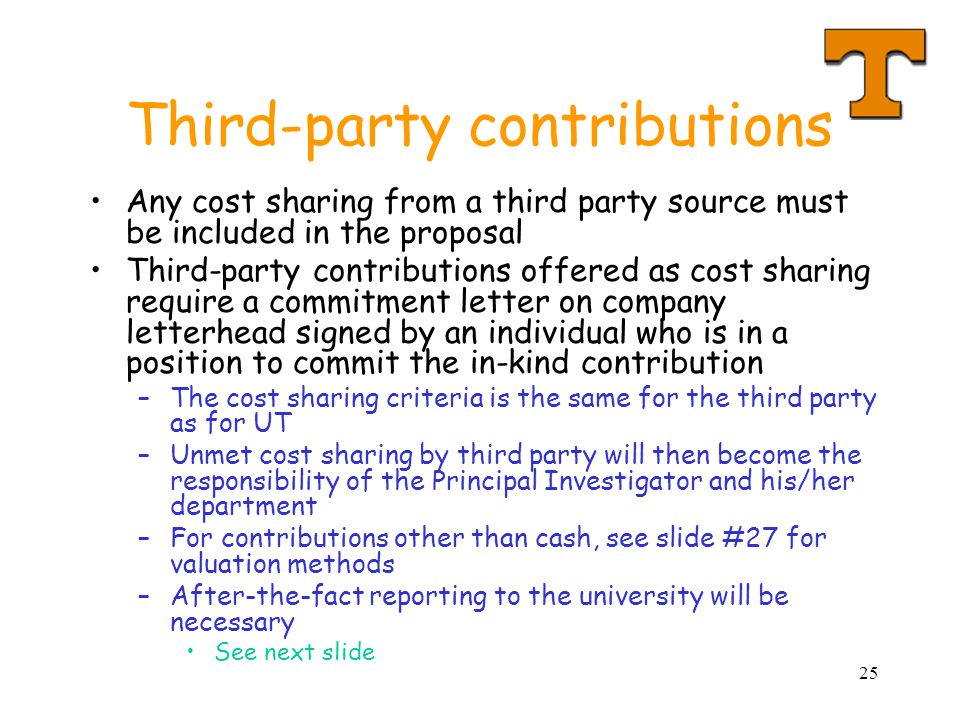 25 Third-party contributions Any cost sharing from a third party source must be included in the proposal Third-party contributions offered as cost sha