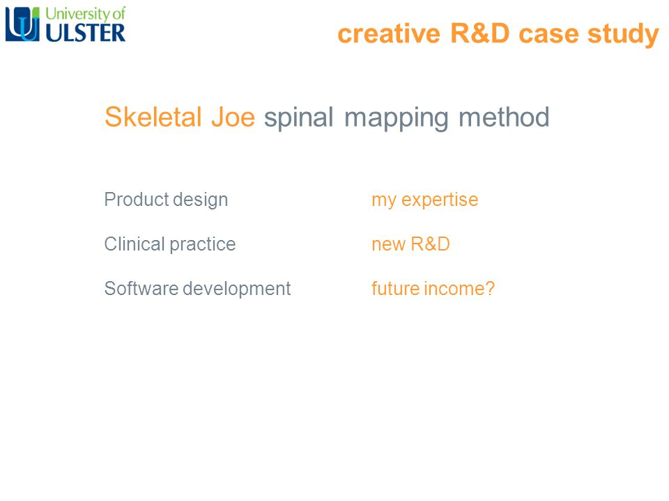 creative R&D case study Skeletal Joe spinal mapping method Product design my expertise Clinical practice new R&D Software development future income