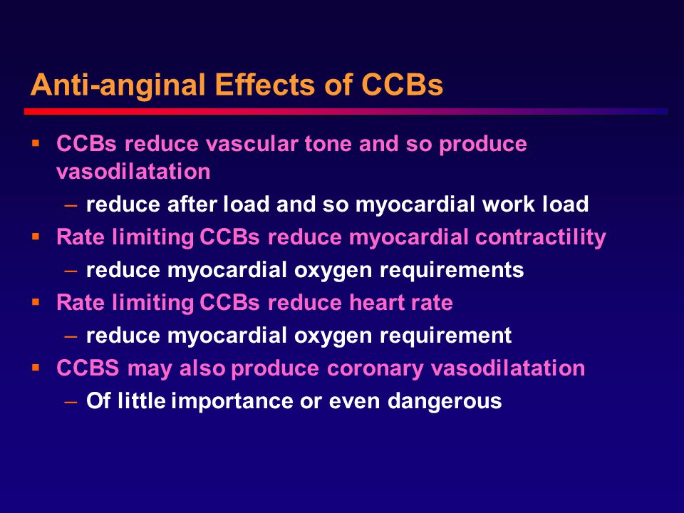 Anti-anginal Effects of CCBs  CCBs reduce vascular tone and so produce vasodilatation –reduce after load and so myocardial work load  Rate limiting CCBs reduce myocardial contractility –reduce myocardial oxygen requirements  Rate limiting CCBs reduce heart rate –reduce myocardial oxygen requirement  CCBS may also produce coronary vasodilatation –Of little importance or even dangerous