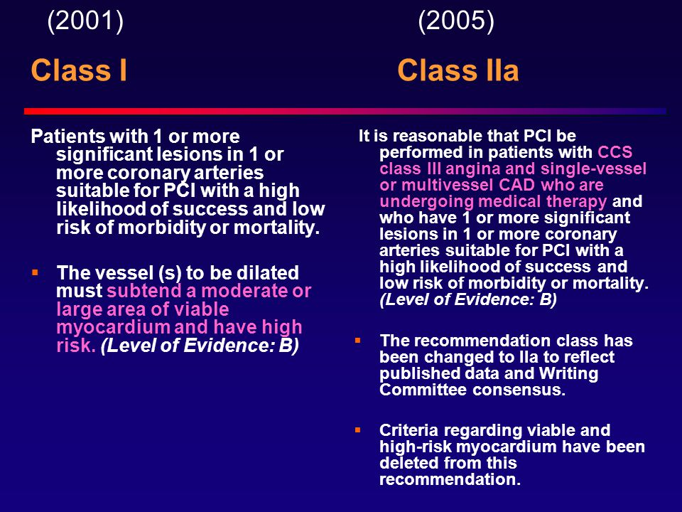 Class I Class IIa Patients with 1 or more significant lesions in 1 or more coronary arteries suitable for PCI with a high likelihood of success and low risk of morbidity or mortality.