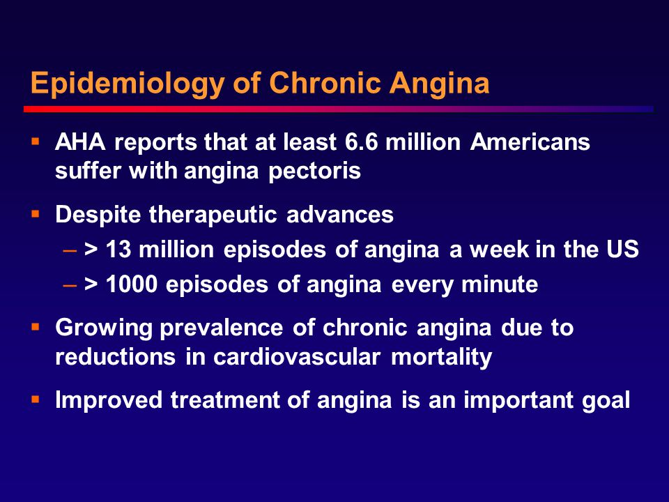 Epidemiology of Chronic Angina  AHA reports that at least 6.6 million Americans suffer with angina pectoris  Despite therapeutic advances –> 13 million episodes of angina a week in the US –> 1000 episodes of angina every minute  Growing prevalence of chronic angina due to reductions in cardiovascular mortality  Improved treatment of angina is an important goal