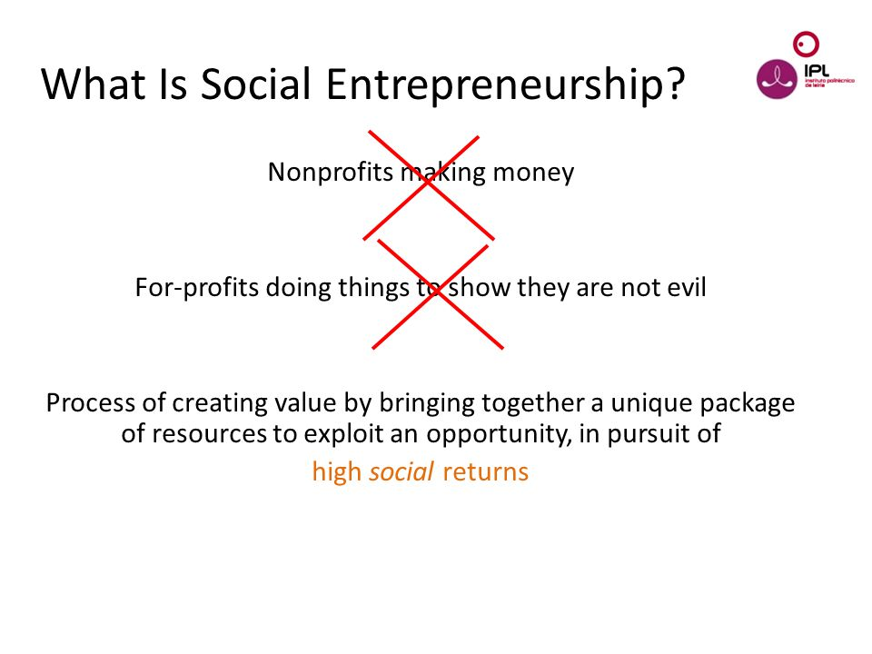 Dream > Believe > Pursue What Is Social Entrepreneurship? Nonprofits making money For-profits doing things to show they are not evil Process of creati