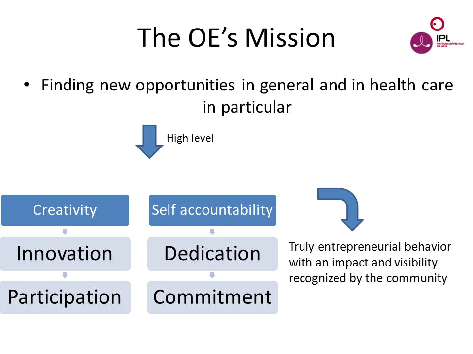 Dream > Believe > Pursue Finding new opportunities in general and in health care in particular The OE's Mission High level Creativity InnovationParticipation Self accountability DedicationCommitment Truly entrepreneurial behavior with an impact and visibility recognized by the community