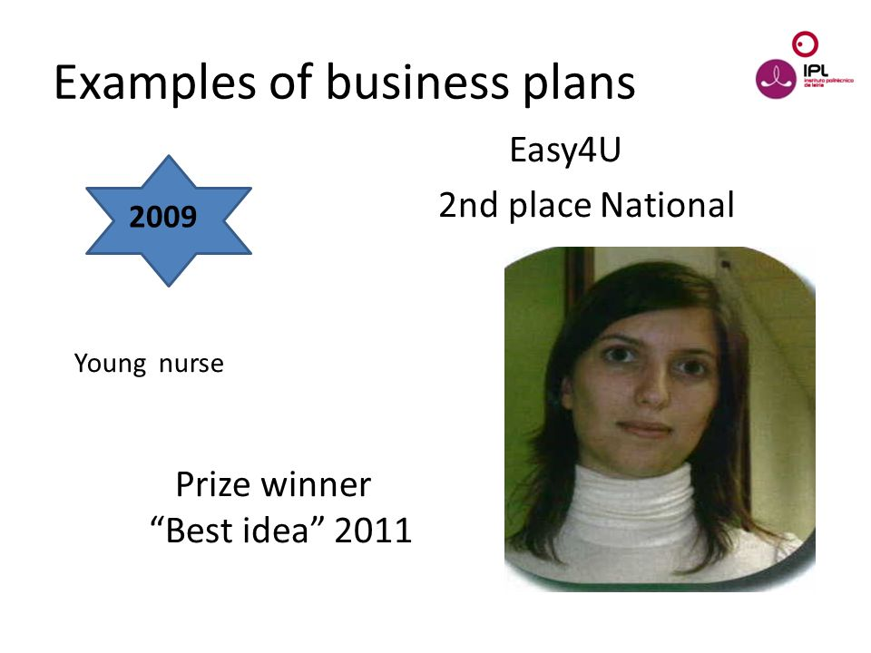 Dream > Believe > Pursue Easy4U 2nd place National Prize winner Best idea 2011 Examples of business plans 2009 Young nurse