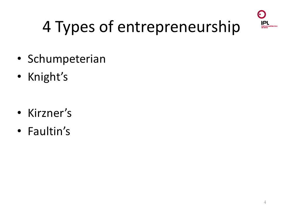 Dream > Believe > Pursue 4 Types of entrepreneurship Schumpeterian Knight's Kirzner's Faultin's 4