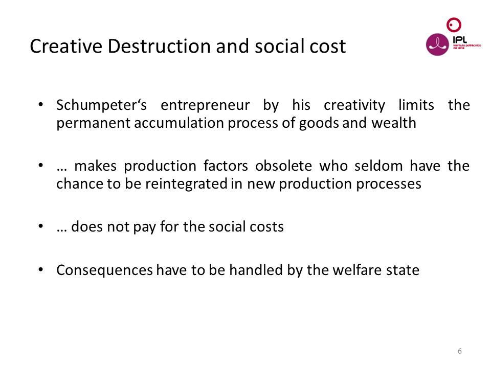 Dream > Believe > Pursue 6 Creative Destruction and social cost Schumpeter's entrepreneur by his creativity limits the permanent accumulation process