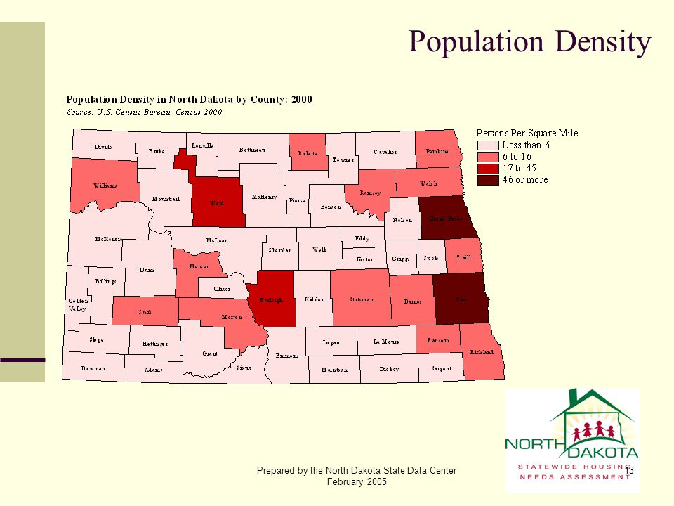 Prepared by the North Dakota State Data Center February 2005 13 Population Density