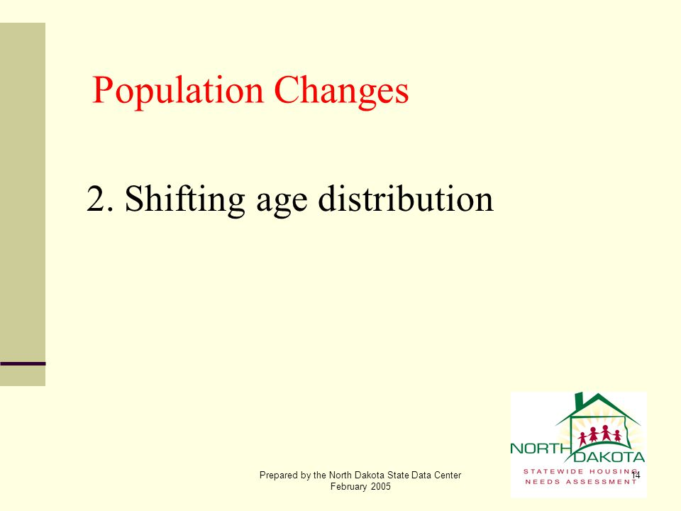 Prepared by the North Dakota State Data Center February 2005 14 Population Changes 2. Shifting age distribution