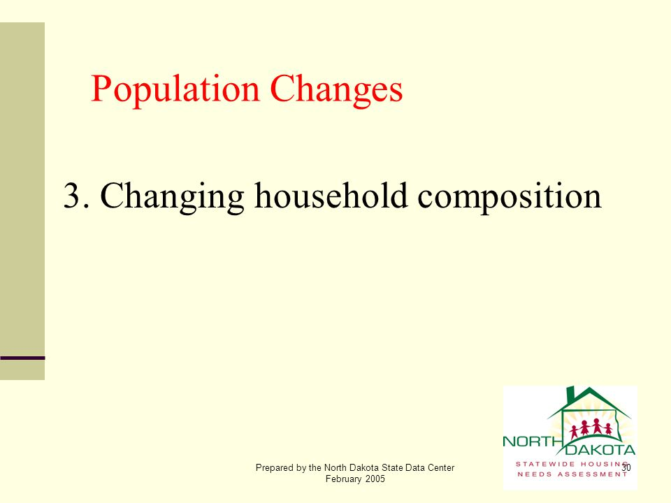 Prepared by the North Dakota State Data Center February 2005 30 Population Changes 3. Changing household composition