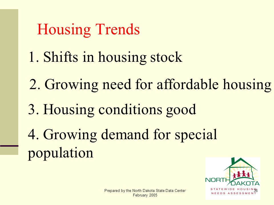 Prepared by the North Dakota State Data Center February 2005 36 Housing Trends 1. Shifts in housing stock 2. Growing need for affordable housing 3. Ho